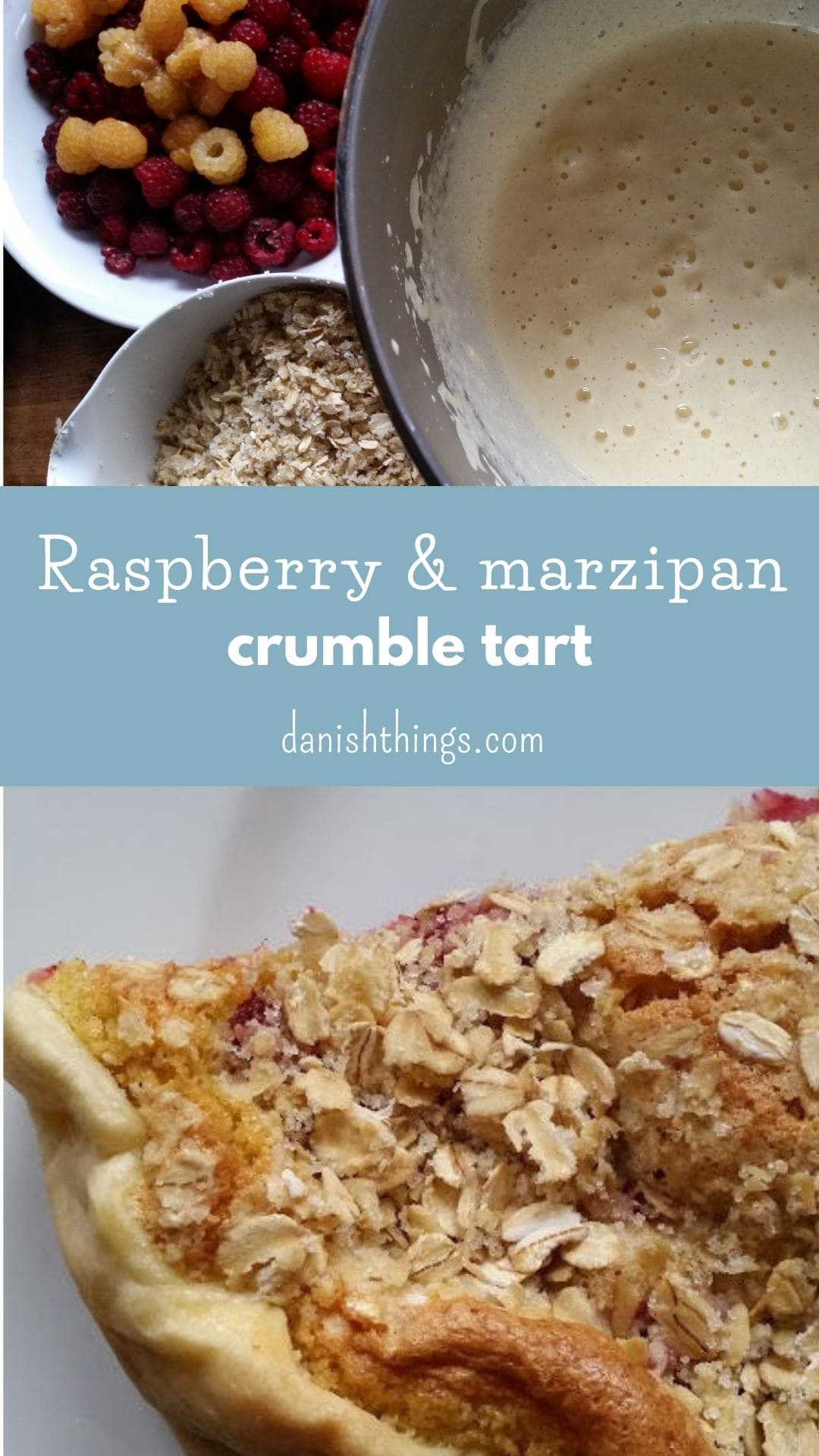 Make an easy raspberry tart with marzipan and oar crumble - find the recipes at danishthings.com © Christel Parby #DanishThings #pie #tart #pastry #shortcrustpastry #raspberry #raspberrypie #raspberrytart #raspberries #marzipan #marzipanfilling
