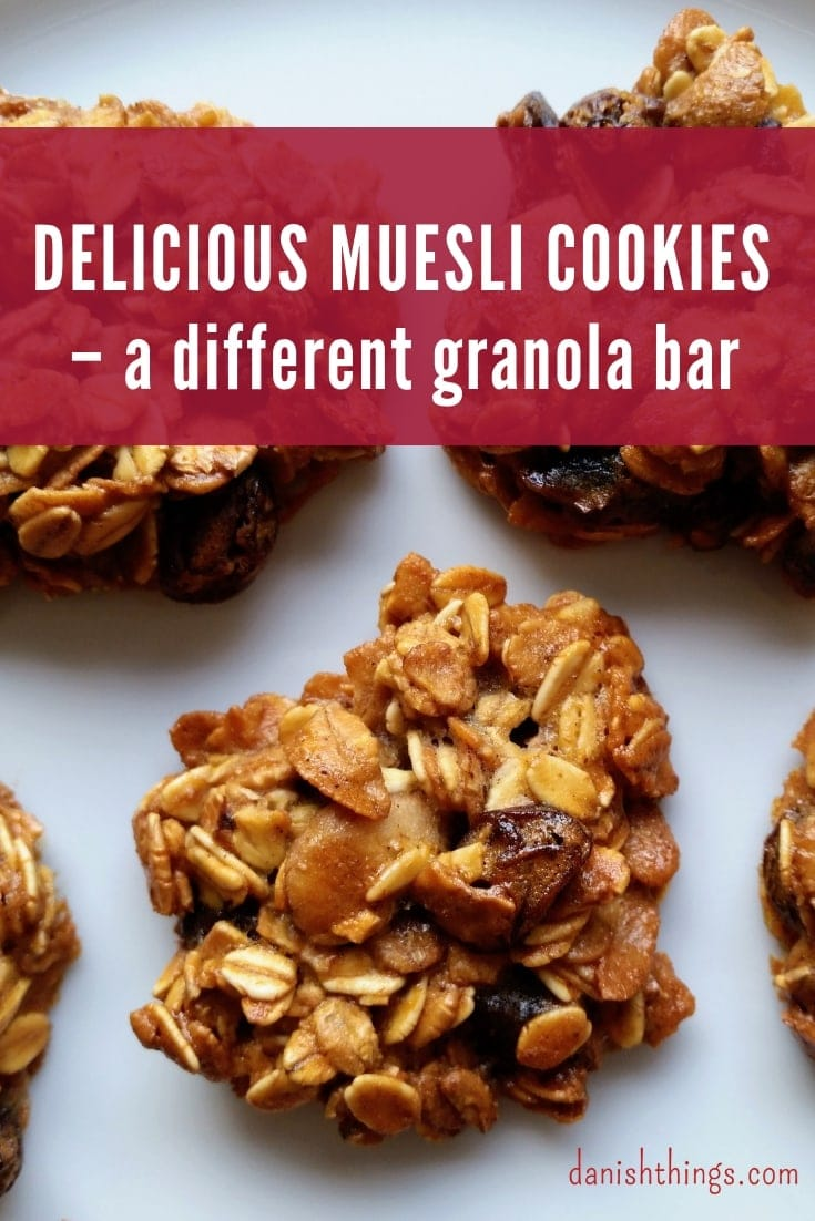 Delicious muesli cookies – a different muesli bar. Make your muesli bar or granola bar in the shape of a cookie. Find the recipe @ danishthings.com