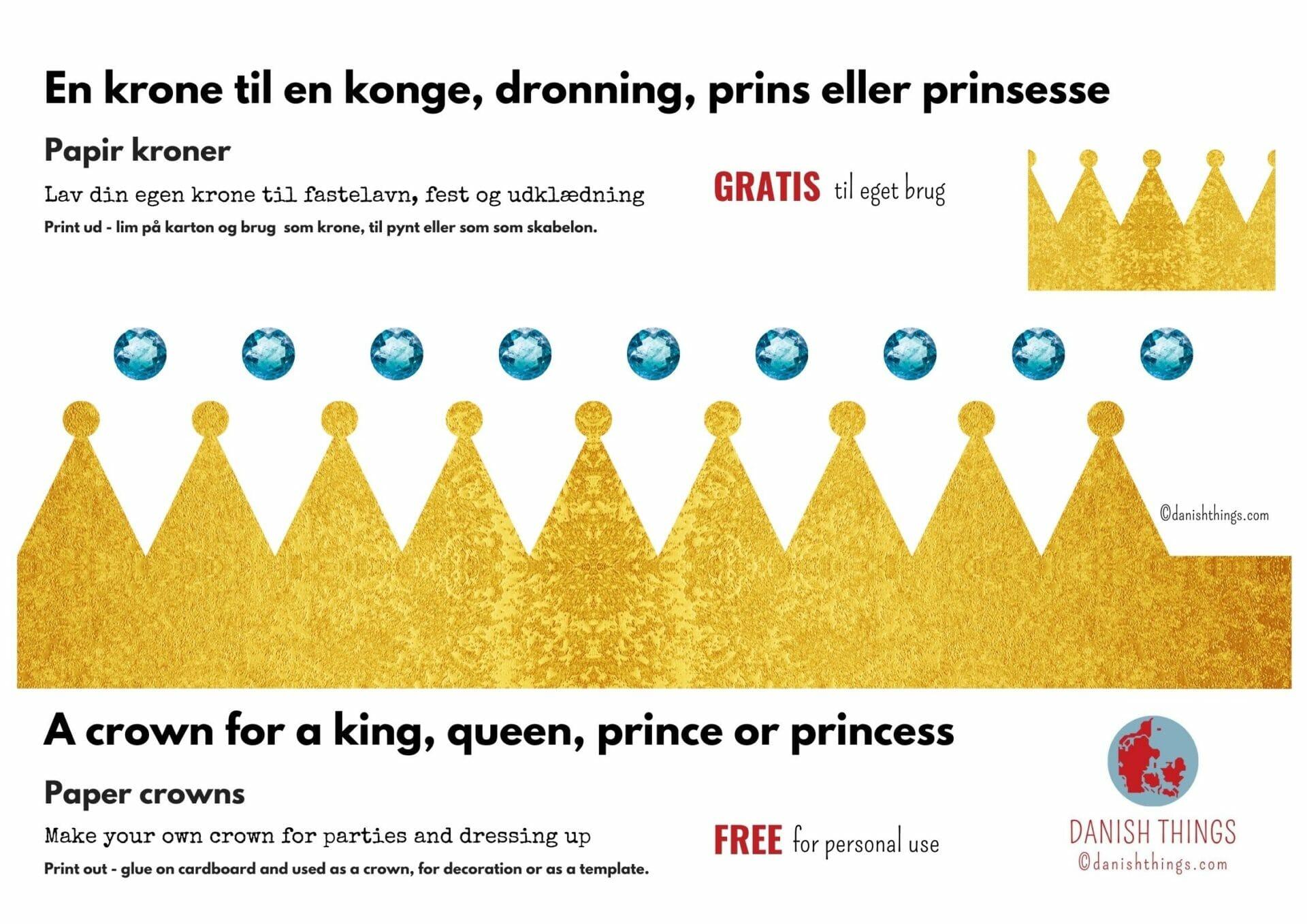 Lav din egen krone til en konge, dronning, prins eller prinsesse. Gratis kroner til dekoration og som skabelon. Skal du slå Katten af tønden, og mangler kronerne? Vil du klæde dig ud eller pynte fastelavnsris? Find kronen til kattekongen og kattedronningen, til prinsen og prinsessen - til nytår eller din fødselsdag. Find flere gratis dekorationer, skabeloner, masker samt opskrifter og inspiration her på danishthings.com © Christel Parby Danish Things  #DanishThings #fastelavn #krone #kongekrone #dronningekrone #prinsekrone #prinsessekrone #fastelavnskrone #dekoration #fastelavnsris #fastelavnstønde #gratis #skabelon #fastelavnsdekoration #udklædning #marsvin #kattekonge #kattedronning #konge #dronning #prins #prinsesse