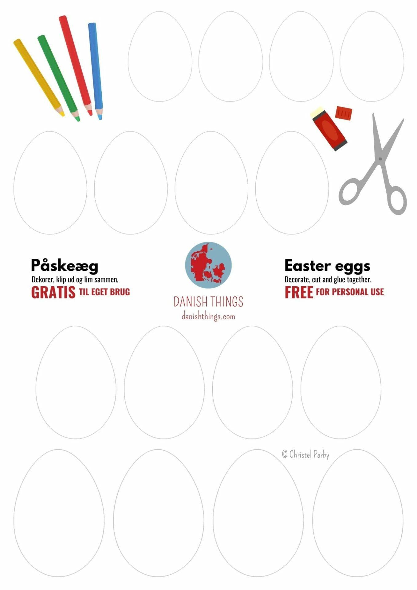Æg - til print eller som skabelon. Påskeæg af papir - til dine egne påskedekorationer. Dekorer æggene, og brug dine påskeæg som påskekort, som pynt på grene og i vinduer. Find opskrifter, gratis print og inspiration til årets gang på danishthings.com #DanishThings #skabelon #filt #æg #papir #påske #lavselv #gratis #print #påskepynt #Billedkunst #aktivitet #dekoration #påske #påskedekoration #påskeæg #påskeophæng #ophæng #mobile #påskekort